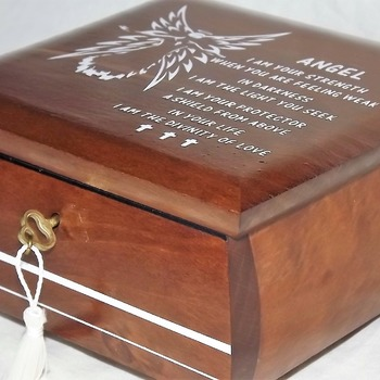FREE POST - LOCKABLE Deluxe ANGEL Wooden Box. With comforting angel prayer poem. Affirmation Box. Prayer Box. Spiritual Healing.