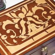 FREE POST - LOCKABLE UNIQUE Engraved SPIRITUAL Design - Handmade wooden box. Jewellery box with meditating Kundalini silhouette.