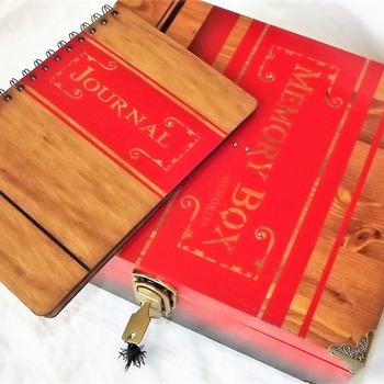 FREE POST - MEMORY BOX & JOURNAL. Large Aged Red and Rosewood Lockable Wooden Storage box with matching wooden Journal.