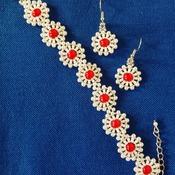 Handmade Japan Round Bracelet Earrings Set