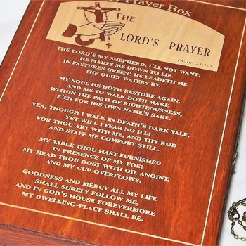 FREE POST - LOCKABLE Wooden PRAYER BOX engraved with THE LORD'S PRAYER. Psalm 23: 1-3. Key is on a chain. Handmade woodworking.