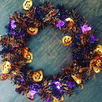 Pumpkin and Bat Halloween Wreath