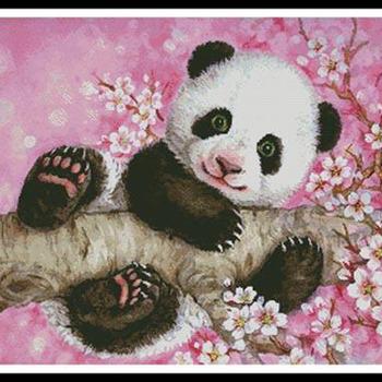 CRAFTS Cherry Blossom Panda Cross Stitch Pattern***L@@K***