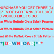 Great White Buffalo Cross Stitch Pattern***LOOK***X***INSTANT DOWNLOAD***