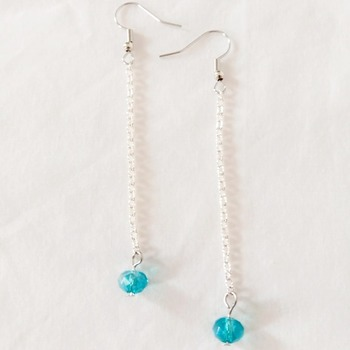 Handmade Aquamarine Crystal Glass Drop Earrings Jewellery