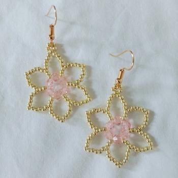 Handmade Gold Pink Simple Flower Earrings Jewellery