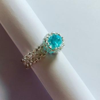 Handmade Ocean Blue Crystal Silver Ring Jewellery