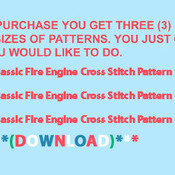 Classic Fire Engine Cross Stitch Pattern***LOOK***X***INSTANT DOWNLOAD***