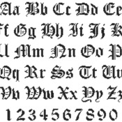 Counted cross stitch pattern  alphabet high 22 old gothic   216 x 179 stitches CH1242