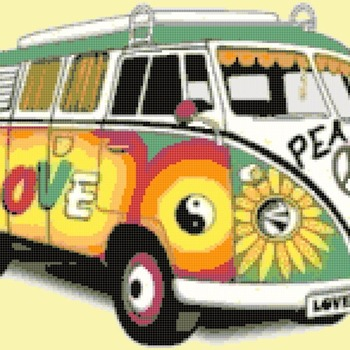 Counted Cross Stitch pattern volkswagen T2 needlepoint 207x145 stitches CH2125