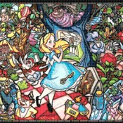 Counted cross stitch pattern alice in wonderland stained 331x230 stitches CH1352