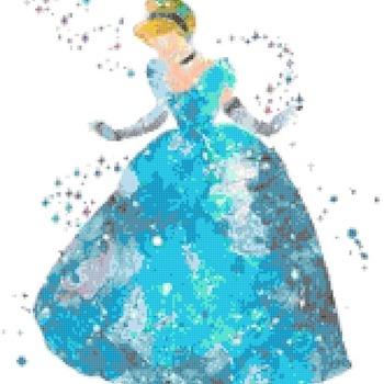 counted Cross Stitch Pattern watercolor princess cinderella 163*180 stitches CH2323