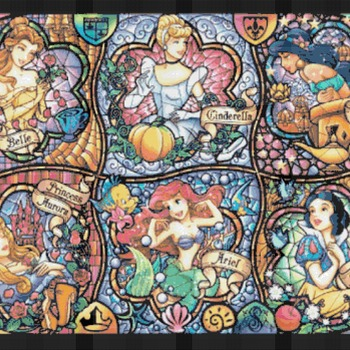 counted cross stitch pattern six princesses stained glass 496*349 stitches CH715