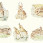 counted cross stitch pattern six scene bad rabbit Potter 241*154 stitches CH1156