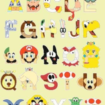 Cross Stitch Pattern Super mario bros abc alphabet 222 * 279 stitches CH846