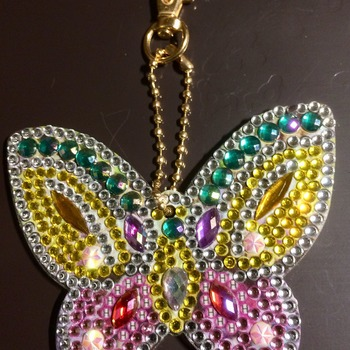 Diamond Picture Art Butterfly, Double Sided Key ring ? Handmade By Paula Free P&P