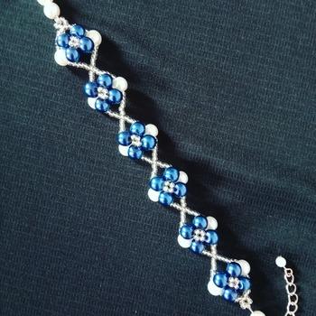 Handmade Blue White Pearl X Bracelet Jewellery
