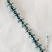 Handmade Dark Green Pearl Crystal Glass Bracelet Jewellery