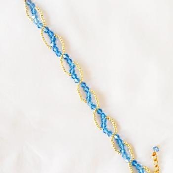 Handmade Gold Blue Crystal Glass Wave Bracelet Jewellery