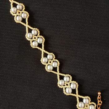 Handmade Grey Pearl Gold Beads Bracelet Jewellery