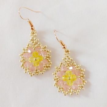 Handmade Pink Yellow Spring Flower Earrings Jewellery