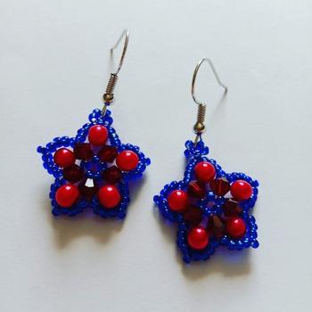 Handmade Red Blue Star Earrings Jewellery