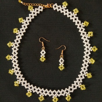 Handmade Yellow Crystal Glass White Pearl Diamond Shape Necklace Earrings Set