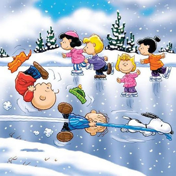 CRAFTS Peanuts Ice Skateing Cross Stitch Pattern***L@@K***