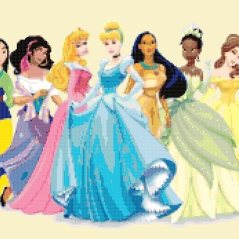 counted cross stitch pattern all Disney princesses 452*151 stitches CH009