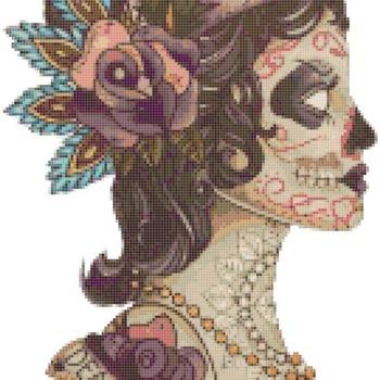 counted cross stitch pattern dead girl sugar skull 133*245 stitches CH915