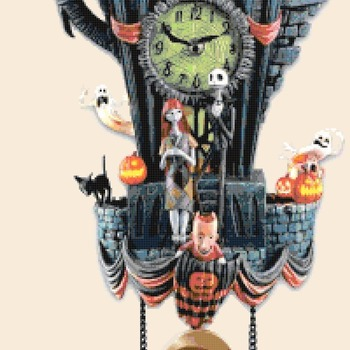 counted cross stitch pattern _Nightmare before christmas cuckoo clock 194x386 stitches CH2154