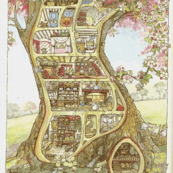 counted cross stitch pattern house in the tree embroidery 361*441 stitches CH1801