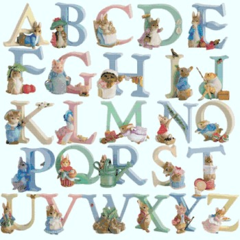 Counted cross stitch pattern alphabet farm characters high 60 ABC 329*319 stitches CH933