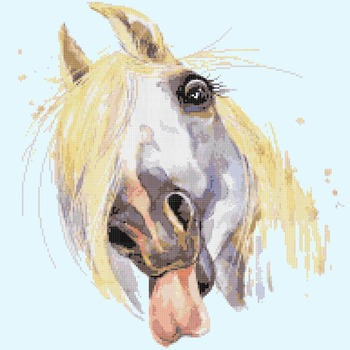 counted Cross Stitch Pattern watercolor horse 180*191 stitches CH1516