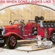CRAFTS Classic Fire Engine Cross Stitch Pattern***LOOK***