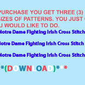 Notre Dame Fighting Irish Cross Stitch Pattern***L@@K***Buyers Can Download Your Pattern As Soon As They Complete The Purchase
