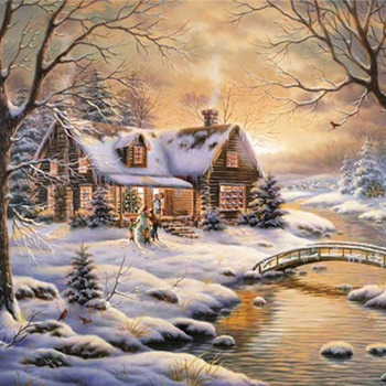 CRAFTS T K River Cabin Cross Stitch Pattern***L@@K***$4.95