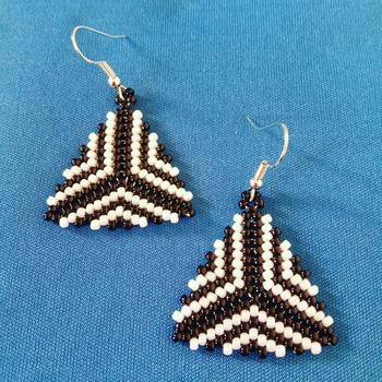 Handmade Black White Triangle Earrings Jewellery