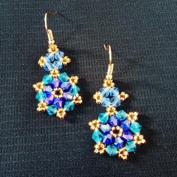 Handmade Blue Crystal Glass Earrings