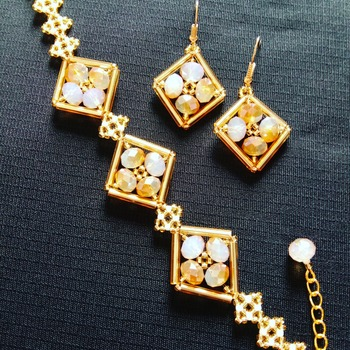Handmade Champagne Gold Diamond Shape Bracelet Earrings Set Jewellery