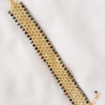 Handmade Netting Black Crystal Glass Bracelet Jewellery