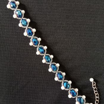 Handmade Royal Blue Crystal White Pearl Bracelet Jewellery