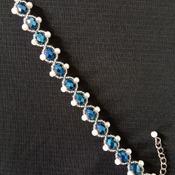 Handmade Royal Blue Crystal White Pearl Bracelet Jewellery