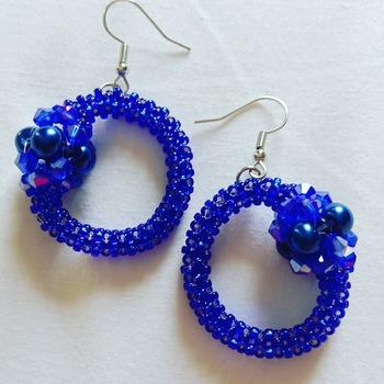 Handmade Royal Blue Round Earrings Jewellery
