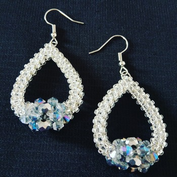 Handmade Silver Crystal Teardrop Earrings Jewellery