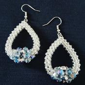 Handmade Silver Crystal Teardrop Earrings Jewellery