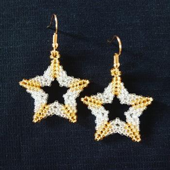 Handmade Silver Gold Open Shape Star Earrings Jewellery