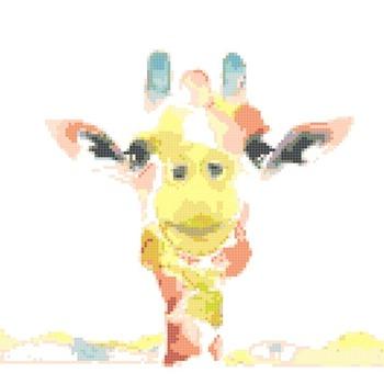 Counted Cross Stitch pattern watercolor giraffe chart 165 * 109 stitches CH1497