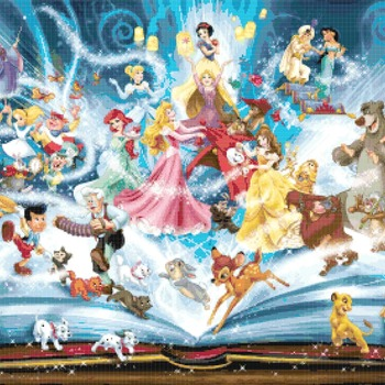 counted Cross stitch pattern disney best themes stained 386*276 stitches CH2273