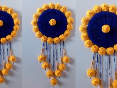 DIY easy woolen toran! DIY room decor ideas!! Woolen wall hanging!! wool craft